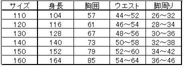 Kes-Virサイズ表